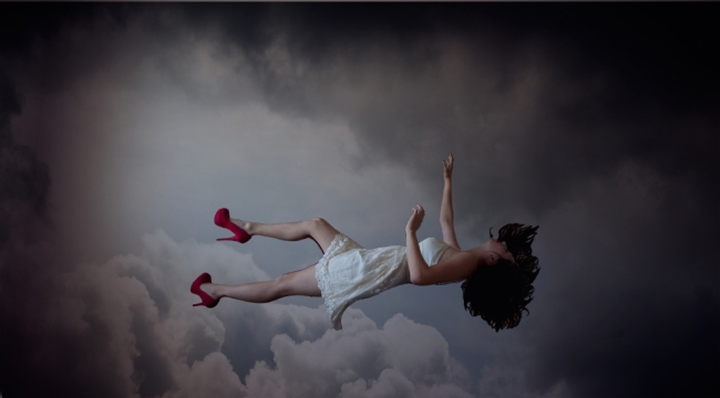 Tooele Photographer, Falling, Compositing, Whimsical, Romance, Fear, Beauty, Clouds, Photoshop, Red Heels, Adventure
